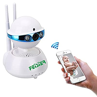 FEISIER Wireless Dome Camera 960P 1.3M IP Security Surveillance System Baby Monitor 2 Way Audio SD Card Slot Day/Night Vision for Android/iOS/iPhone/iPad/Tablet (Planet) by FAITH