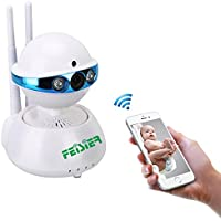 FEISIER Wireless Dome Camera 960P 1.3M IP Security Surveillance System Baby Monitor 2 Way Audio SD Card Slot Day/Night Vision for Android/iOS/iPhone/iPad/Tablet (Planet)