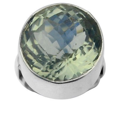 925 Sterling Silver Green Amethyst gemstone Ring Size 7 US 12.66 g