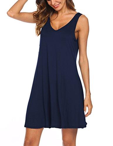 Tobrief Women's Sleeveless Open Back Swing Loose Flowy Casual Tunic Shirt Mini Dress (S, Navy Blue)