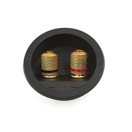 eDealMax 55mm Dia Ronda de Audio del altavoz Primavera Encuadernación Junta Conector Post Box Dual Terminal