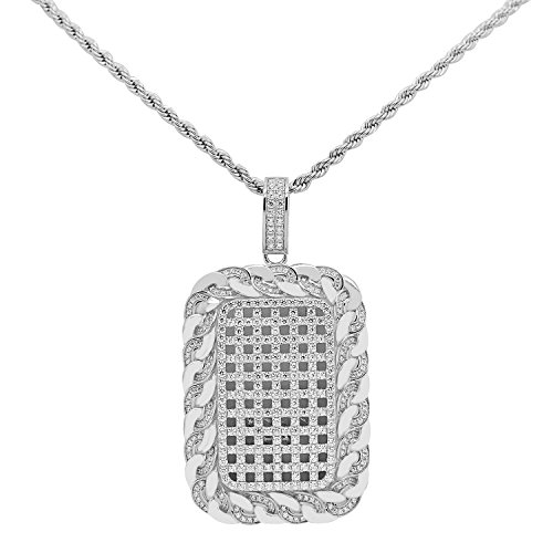 925 Sterling Silver White Gold-Tone Iced Out Hip Hop Bling Cubic Zirconia Rectangle Cage Grid Cuban Chain Linked Dog Tag Pendant by iRockBling