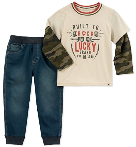 Lucky Sets Boys' Toddler 2 Pieces Pant, camo/Denim, 3T