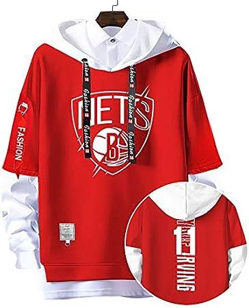 MAOMAOQUEENss 11# Sudaderas con Capucha de Brooklyn#Nets,Kyrie Irving Pullover Uniforme de Baloncesto Fans Camisetas de Entrenamiento,para Hombre y Mujer,sin Pelota,sin Deformación,Moda Casual,Red-S