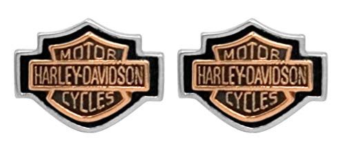 Harley-Davidson Women's Copper Bar Shield Cameo Post Earrings HDE0261