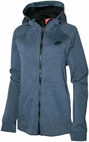 0666c2b85999 Nike Women s Plus Size Full-Zip Sportswear Tech Fleece Hoodie Squadron Blue  Heather Black