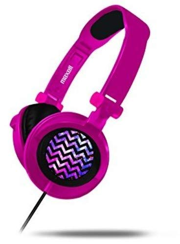 - Maxell 190220 Wired Lightweight Comfortable Long Wear Foldable Extra Large 40mm Driver with Deep Base DJ Style Headphones Amplified-Pink