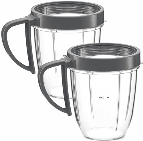NUTRiBULLET 18-Ounce Cups with Handel and Screw-Off Lip Ring by NutriGear (Pack of 2) | NutriBullet Replacement Parts & Accessories | Fits NutriBullet 600w and Pro 900w Blender by NUTRiGEAR