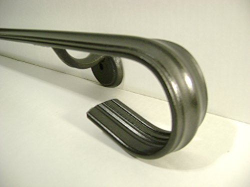 Wall Exterior Iron (Kenosha Iron 2 ft Wrought Iron Handrail Hand Rail Railing Wall Mounted 1 or 2 Steps)