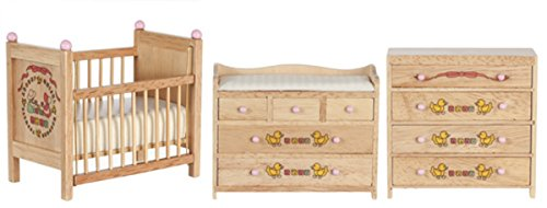Dollhouse Miniature Baby Room Furniture Set in Oak with ABC Design by Town Square Miniatures (Baby Miniature)