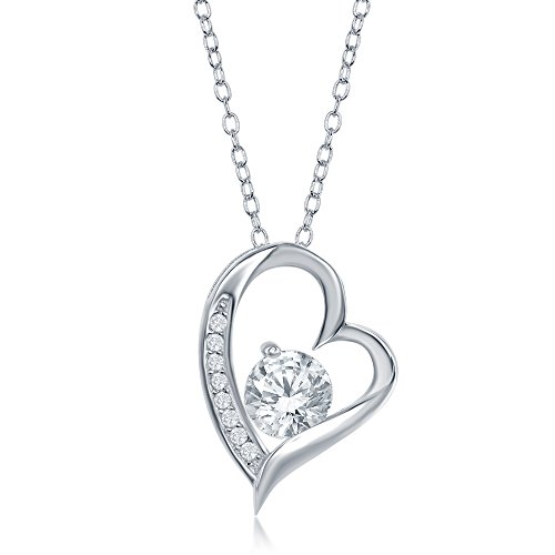 Overlay 925 Sterling Silver Forever Lover Heart Pendant Necklace CZ Stones and a Free Heart Cz Stud
