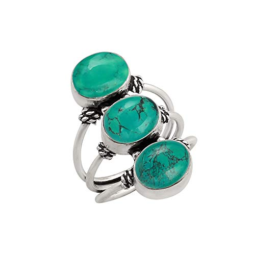 (925 Silver Plated Genuine Oval Shape Turquoise Three Stone Ring Vintage Style Handmade for Women Girls (Size-8.5))