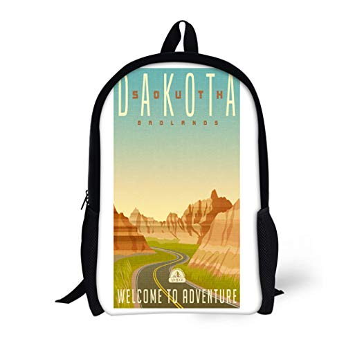 Pinbeam Backpack Travel Daypack Retro Travel United States South Dakota Badlands National Waterproof School Bag (Dakota Outdoor Series)