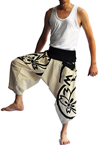 Thai Style Clothing - Siam Trendy Men's Japanese Style Pants One Size White with leaf Design