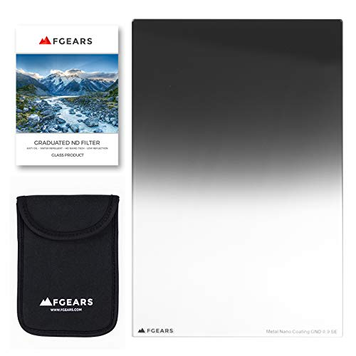 FGEARS USA GND 0.9 Filter for Landscape Photography - Ultra Shart, Extremely Low Color Cast, Smooth and Natural, Fits All Brands of Lens and Camera, Graduated Neutral Density Soft Edge, 100x 150mm