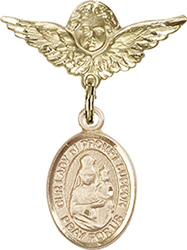 14kt Gold Filled Baby Badge with O/L of Prompt Succor Charm and Angel w/Wings Badge Pin O/L of Prompt Succor is the Patron Saint of New Orleans, LA 1 X 3/4 ()