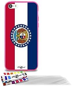 """Carcasa Flexible Ultra-Slim APPLE IPHONE 5C de exclusivo motivo [Misuri Bandera] [Rosa] de MUZZANO  + 3 Pelliculas de Pantalla """"UltraClear"""" + ESTILETE y PAÑO MUZZANO REGALADOS - La Protección Antigolpes ULTIMA, ELEGANTE Y DURADERA para su APPLE IPHONE 5C"""
