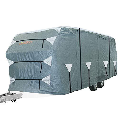KING BIRD Upgraded Travel Trailer RV Cover, Extra-Thick 4 Layers Anti-UV Top Panel, Deluxe Camper Cover, Fits 24'- 27' RV Cover -Breathable, Water-Repellent, Rip-Stop with 2Pcs Straps & 4 Tire Covers