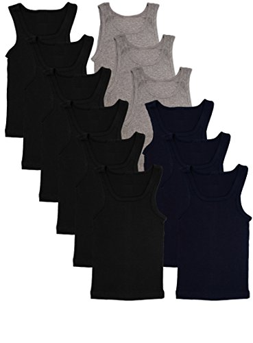 Andrew Scott Basics Boys' 12 Pack Color A-Shirt Sport Tank Top Undershirts (12 Pack - Black/Gray/Navy, -