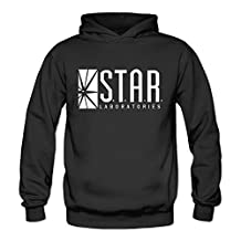 SARAH Women's Star Labs - The Flash Captain TV Laboratories Labs Logo Comics DT Hoodie L Black