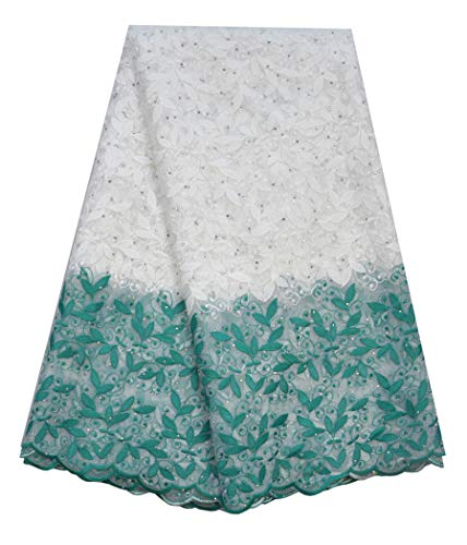 SanVera17 Glitter Stone African Lace Net Milk Silk Fabrics Nigerian Saree Fabric Embroidered and Guipure Cord Lace for Party Wedding (Green) 5 Yards (Fabric Milk)
