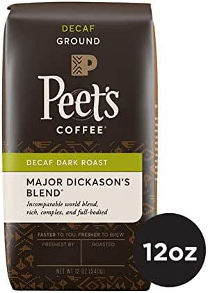Peet's Coffee Decaf Major Dickason's Blend Dark Roast Ground Coffee, 12 Ounce Bag