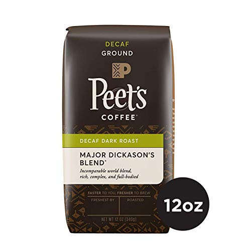 Peet's Coffee Decaf Major Dickason's Blend, Dark Roast Ground Coffee, 12 Ounce Bag, Decaffeinated, Direct Trade Coffee