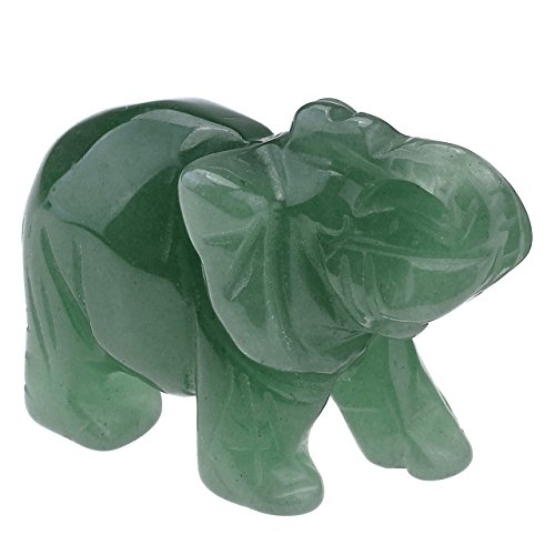 PESOENTH Carved Natural Green Aventurine Gemstone Elephant Feng Shui Statue Wealth Lucky Healing Crystal Guardian Figurine Sculpture Crafts Home Decor,2 inch