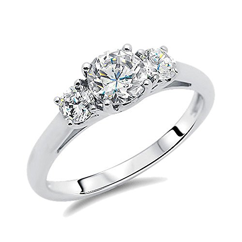 Sterling Silver Rhodium Plated, Wedding Ring Round CZ Three Stone Engagement Ring