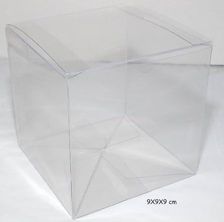 10 cajas estuche plegable PVC X Bomboniere transparente 9 x 9 x 9 cm: Amazon.es: Hogar
