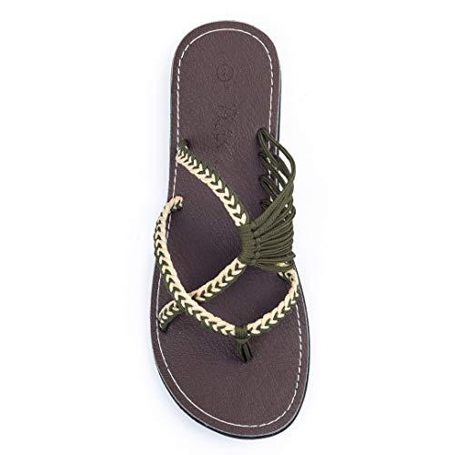 Plaka Flip Flops for Women Sweet Ivory Olive 10 Oceanside ()