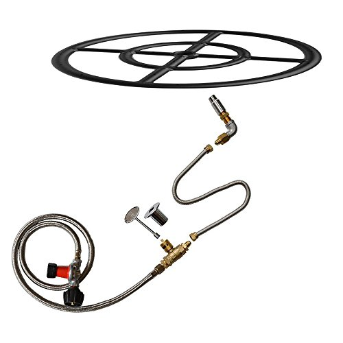 Stanbroil LP Propane Gas Fire Pit Burner Ring Installation Kit, Black Steel, (Black Gas Fireplace)