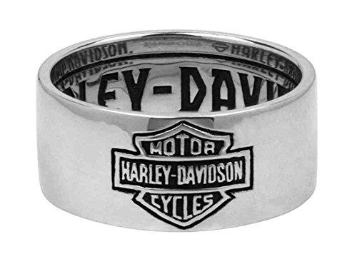 Harley-Davidson Men's Ring, Classic Bar & Shield Logo Band, Silver HDR0264 (11) ()