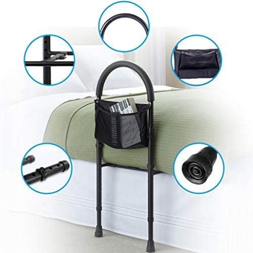 シングルハンドベッドレール-高さ調節可能なベッドアシストレール、ベッドサイドハンドレール-キング、クイーン、フルおよびツインベッドに適合、 ブラック