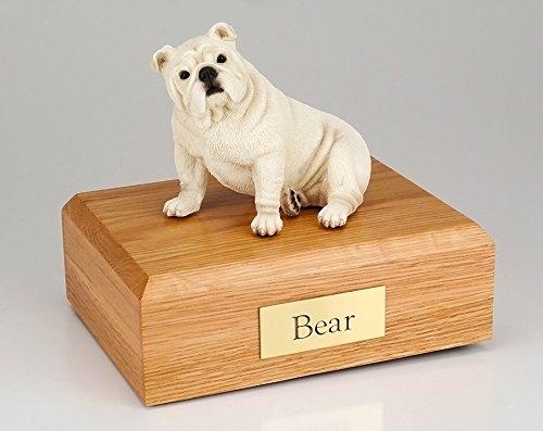 GENUINE North American Hardwood and Bulldog Sitting Figurine Urn Medium by Ever My Pet