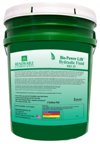 Renewable Lubricants Bio-SynXtra PowerLift Hydraulic Fluid, 5 Gallon Pail by Renewable Lubricants