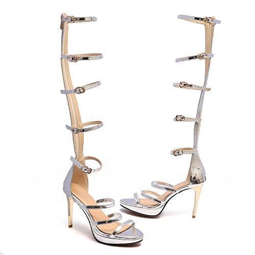 Talon Sandales Taille Ouvert Hauteur Genou Femmes Bout Bottes Haut Soiré Bal Argent Mesdames Chaussures NVXIE DéCouper pB5AHq4
