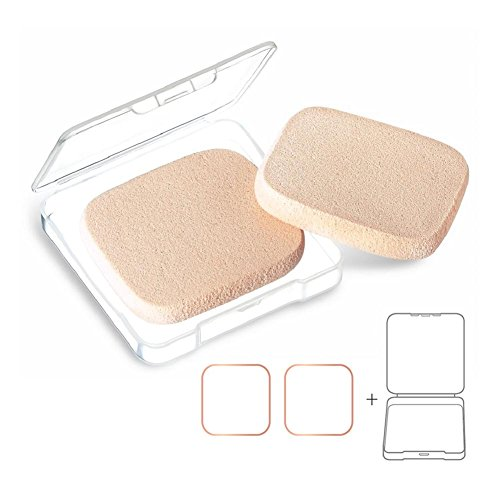 KOOBA 2pcs Square Makeup Sponges with 1 Travel Case, Face Primer Compact Powder Puff, Beauty Blender for Cosmetic Flawless Foundation (Makeup Square)