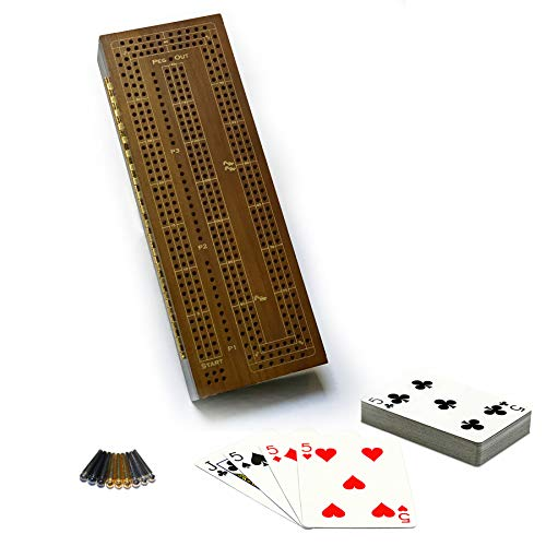 Board Walnut Cribbage - WE Games 3 Player Wooden Cribbage Board Game with Metal Pegs and Cards- Walnut