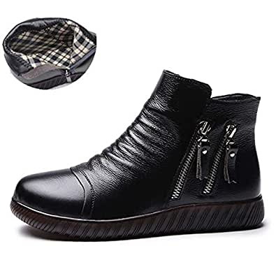 Amazon.com: Fumak Big Size 35-41 Genuine Leather Thick