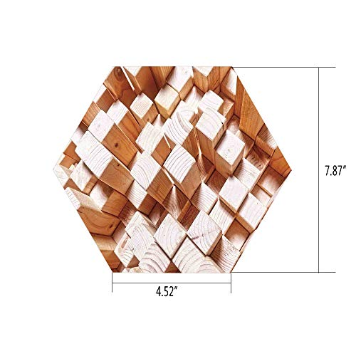 iPrint Hexagon Wall Sticker,Mural Decal,Geometric Decor,Natural Wooden Rustic Square Figures High and Low Oak Logs Timbre Design,Sand Brown,for Home Decor 4.52x7.87 10 Pcs/Set