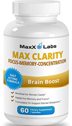 Max Clarity Brain Supplement ★Fights Brain Fog and Memory Loss ★Helpful for a Sharp Mind and Clear Focus – One of the Best Brain Food and Brain Health Supplements – Gluten Free – 60 Capsules