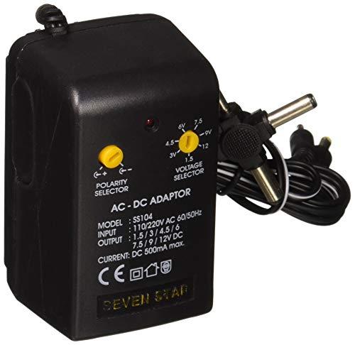 Seven Star 1.5V, 3V, 4.5V, 6V, 7.5V, 9V, 12V DC, 500mA Regulated Universal AC to DC Converter with Multiple Connector Ends ()
