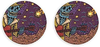 Esqueleto tocando la guitarra abridor de botellas redondas / imanes de nevera sacacorchos de acero inoxidable pegatina magnética 2 piezas