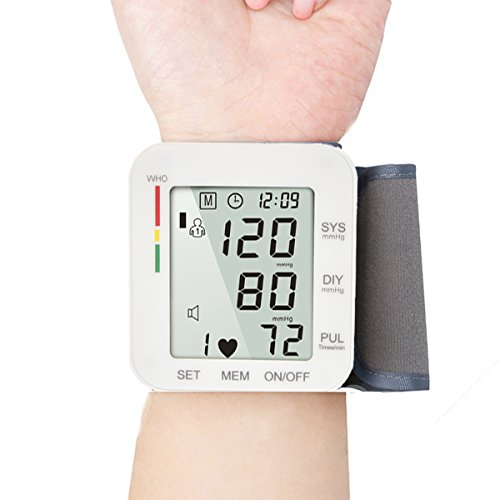 Digital Wrist Blood Pressure Monitor Cuff Electric BP Check Machine Portable Clinical Automatic with Case LCD Display Heart Beat Monitoring for Home Use (Pressure Machine)