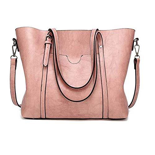 Women bag Oil wax Women's Leather Handbags Luxury Lady Hand Bags With PursePink301226cm ()