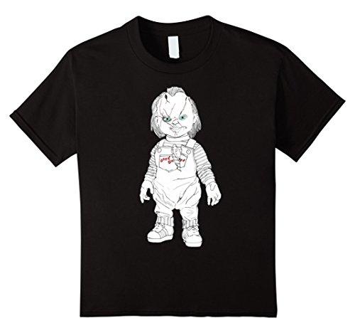 [Kids Chucky T-Shirt In Black for Halloween 8 Black] (Chucky Costume For Kids)