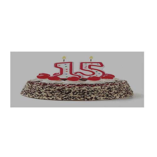 15th Birthday Decorations Beautiful Floor Sticker,Chocolate Cherry Cake with Number Candles Surpise Party Theme for Indoor Floor,35.4