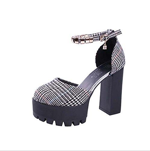 con Singole Scarpe MYI Signore da Black Color Scarpe Primavera di Scarpe Modo 39 Dimensione del Impermeabili Selvaggio Nuova Scarpe Femminile Versione Spessore Donna Coreana TIq1UCI