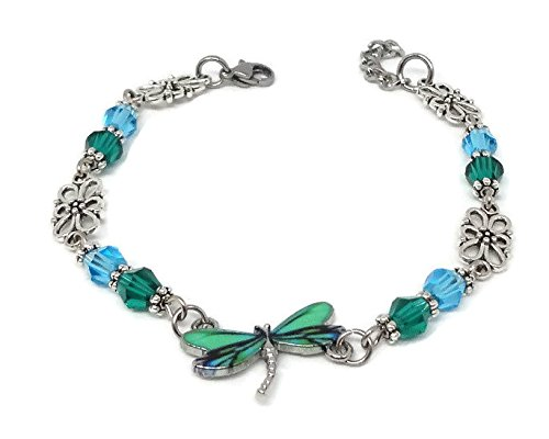 Dragonfly Bracelet with Green and Blue Beads - Nature Jewelry with Flower Connectors - Holiday, Vacation, Summer Gift